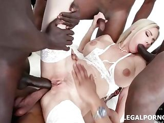 Amazing Blonde Woman With Blue Eyes, Natalie Cherry Got Inserted With A Big, Black Meat Stick