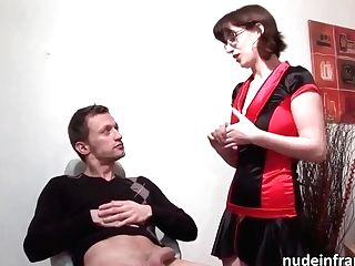 Slender, French Brown-haired With Glasses Cant Hold Back From Sucking Man Rod, Hoping To Get Fucked Hard