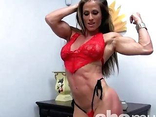 """muscular Blonde Latina Female Bodybuilder In Crimson Undergarments"""