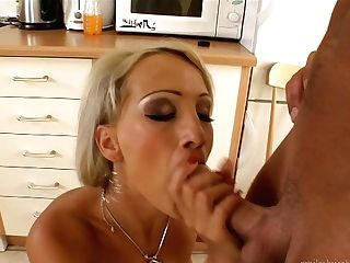 Blonde Gets Her Nice Face Sopping In Jizm