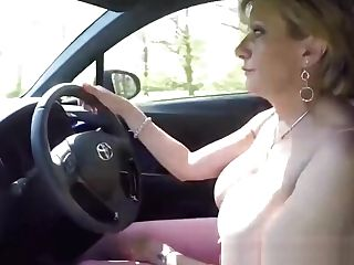 Matures Blonde Lady Sonia Plays With Her Tits While Driving