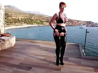 Matures Brit Red-haired Masturbates On The Balcony