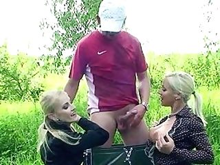 Outdoor Joy With The Same Dick For Mommy And The Daughter-in-law