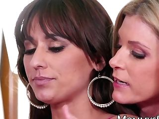 Attractive Step Mom Makes Two Youthful Stunners Fuck