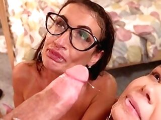 These Whores Share The Cumload In The End Of Their Threesome