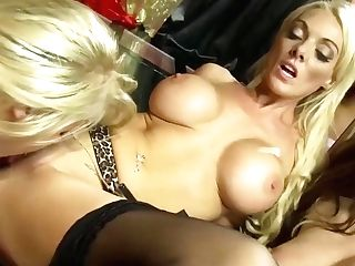 Big Titted Blonde And A Promiscuous Brown-haired Are Having A Lesbo Threesome All Day Lengthy