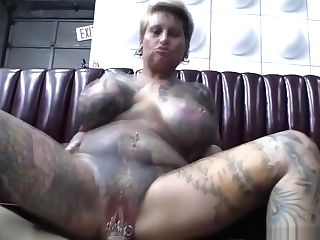 Blonde Bbw Packaged In Tattoos Rails Hard Manhood