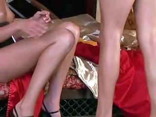 Carli Banks And Another Stunning Slender Honey In High High-heeled Slippers