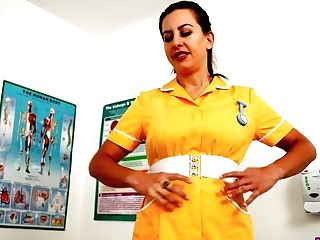Lusty Nurse Tindra Frost Undoes Yellow Uniform Sundress And Plays With Bra-stuffers