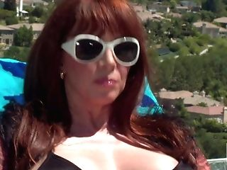 Big Boobed Hot Cougar Sandy-haired Rayveness In Shades And Black