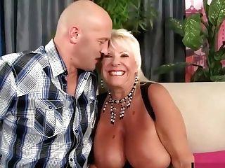 Floppy Titted Granny Fucks A Bald Stud