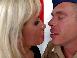 Big Titted Blonde Model Margo And Officer Mick Blue Have