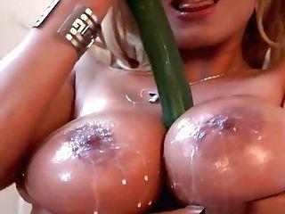 Buxom Mummy Sharon Pink Cucumber In Her Fine Twat