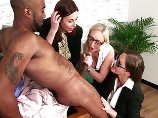 Tina Kay, Amber Deen & Antonia Sainz Suck Big Black Cock Until He Cums