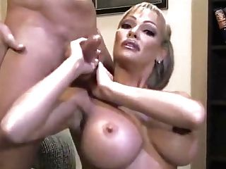 Buxomy Cougar Houston Strokes A Fat Prick Until It Bursts With Pleasure