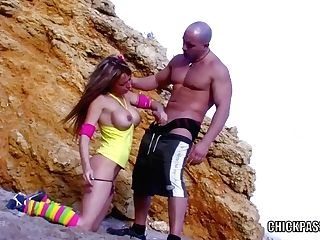 Buxom Honey Eva Lange Gets Her Twat Pounded In The Sand
