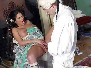 Dark Haired Lady Emily B Bares Her Ideal Giant Hooters