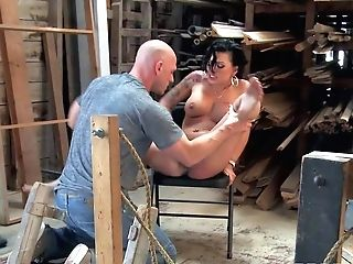 Charing Dark-haired Pornographic Star Eva Angelina Bares Her Butt For Another